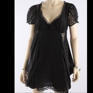 All Saints Black silk and lace dress